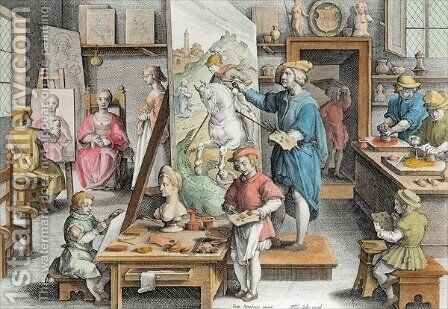 The Invention of Oil Paint, plate 15 from Nova Reperta New Discoveries engraved by Philip Galle 1537-1612 c.1600 2 by (after) Straet, Jan van der (Giovanni Stradano) - Reproduction Oil Painting