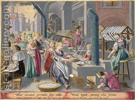Boiling the Cocoons to Destroy the Chrysalids and Soften the Strands, and Reeling them to Make Silk, plate 6 from Vermis Sericus The Silkworm engraved by Philip Galle 1537-1612 by (after) Straet, Jan van der (Giovanni Stradano) - Reproduction Oil Painting