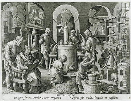 Distillation, boiling water to purify it, engraved by Philip Galle 1537-1612 2 by (after) Straet, Jan van der (Giovanni Stradano) - Reproduction Oil Painting