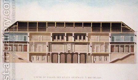Cross Section of the Palais des Etats Generaux, Brussels, from Choix des Monuments, Edifices et Maisons les plus remarquables du Royaume des Pays-Bas by Pierre Jacques Goetghebuer, published 1827 by Charles Vander Straeten - Reproduction Oil Painting
