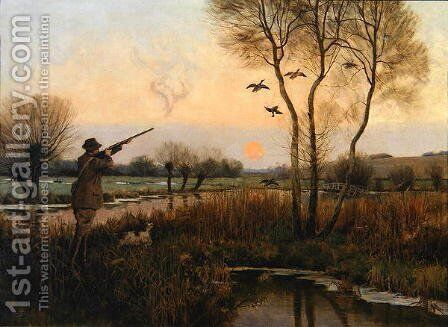 Duck Shooting by Christopher William Strange - Reproduction Oil Painting