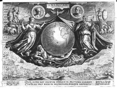 Discovery of America with portraits of Amerigo Vespucci 1454-1512 and Christopher Columbus 1451-1506 engraved by Jan Collaert 1566-1628 printed by Philipp Galle 1537-1612 c.1600 by Jan van der (Joannes Stradanus) Straet - Reproduction Oil Painting