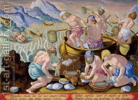 Natives Fishing for Giant Clams on the Indus, plate 102 from Venationes Ferarum, Avium, Piscium Of Hunting Wild Beasts, Birds, Fish engraved by Jan Collaert 1566-1628 published by Phillipus Gallaeus of Amsterdam by Jan van der (Joannes Stradanus) Straet - Reproduction Oil Painting