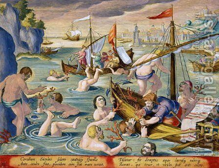 Diving for Coral, plate 92 from Venationes Ferarum, Avium, Piscium Of Hunting Wild Beasts, Birds, Fish engraved by Jan Collaert 1566-1628 published by Phillipus Gallaeus of Amsterdam by Jan van der (Joannes Stradanus) Straet - Reproduction Oil Painting