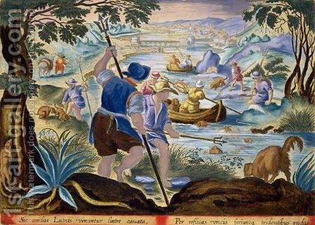 Fishing with Tridents, plate 90 from Venationes Ferarum, Avium, Piscium Of Hunting Wild Beasts, Birds, Fish engraved by Jan Collaert 1566-1628 published by Phillipus Gallaeus of Amsterdam by Jan van der (Joannes Stradanus) Straet - Reproduction Oil Painting