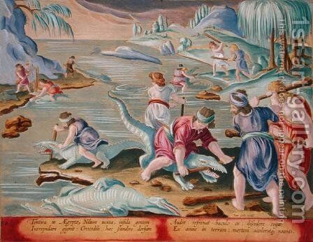 Killing Crocodiles Using Sticks and Clubs, plate 88 from Venationes Ferarum, Avium, Piscium Of Hunting Wild Beasts, Birds, Fish engraved by Jan Collaert 1566-1628 published by Phillipus Gallaeus of Amsterdam by Jan van der (Joannes Stradanus) Straet - Reproduction Oil Painting
