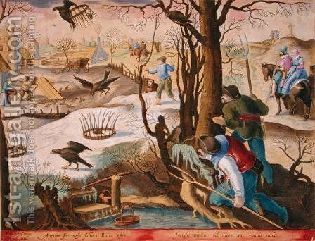 Birdcatchers Using Traps Baited with Rats to Capture Hawks, plate 64 from Venationes Ferarum, Avium, Piscium Of Hunting Wild Beasts, Birds, Fish engraved by Jan Collaert 1566-1628 published by Phillipus Gallaeus of Amsterdam by Jan van der (Joannes Stradanus) Straet - Reproduction Oil Painting