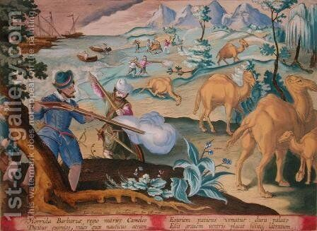 Sailors in a Horrid Barbarian Country Kill Camels with Muskets to Relieve their Hunger, plate 28 Venationes Ferarum, Avium, Piscium Of Hunting Wild Beasts, Birds, Fish engraved by Jan Collaert 1566-1628 published by Phillipus Gallaeus of Amsterdam by Jan van der (Joannes Stradanus) Straet - Reproduction Oil Painting