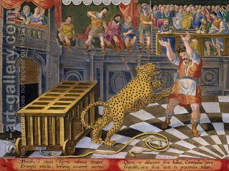 The Roman Emperor Commodus Fires an Arrow to Subdue a Leopard which has Escaped from its Cage in the Arena, plate 14 from Venationes Ferarum, Avium, Piscium Of Hunting Wild Beasts, Birds, Fish engraved by Jan Collaert 1566-1628 published by Phillip by Jan van der (Joannes Stradanus) Straet - Reproduction Oil Painting