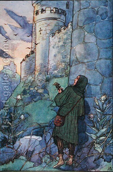 The minstrel Blondel sings outside the prison where King Richard I 1157-99 is held prisoner by Duke Leopold 1157-94 of Austria, illustration from Heroic Legends, published in London 1911 by Helen Stratton - Reproduction Oil Painting
