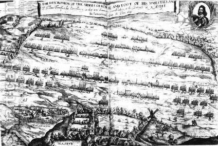 The Description of the Armies of Horse and Foot of his Majesties at the Battle of Naseby, 14th June 1645, first published in Anglia Rediviva by Joshua Sprigge in 1647 by (after) Streeter - Reproduction Oil Painting