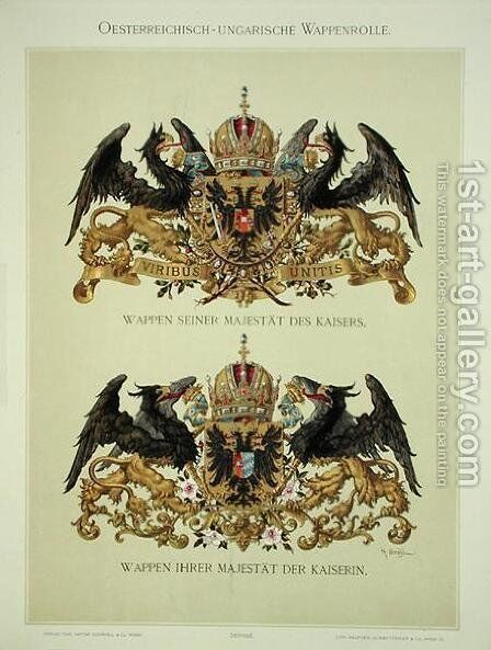 Plate with the coats of arms of Emperor Franz Joseph I 1830-1916 and Empress Elizabeth of Bavaria 1837-98 from Heraldischer Atlas by the artist, 1899 by (after) Strohl, Hugo Gerard - Reproduction Oil Painting