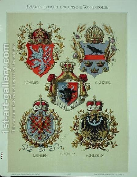 Coats of arms from the Austro-Hungarian Empire, from Heraldischer Atlas by the artist, 1899 2 by (after) Strohl, Hugo Gerard - Reproduction Oil Painting