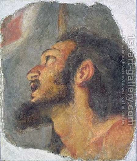 The Head of St. John the Baptist, fragment from a fresco by Bernardo Strozzi - Reproduction Oil Painting