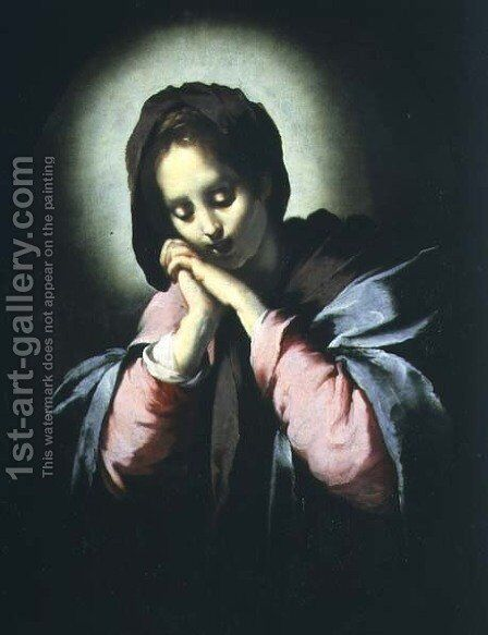 Madonna in Adoration by Bernardo Strozzi - Reproduction Oil Painting