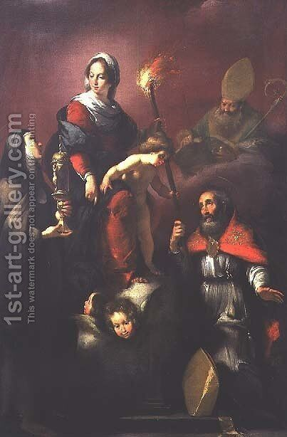Madonna and Child with St. Clare, St. Ambrose and St. Erasmus by Bernardo Strozzi - Reproduction Oil Painting