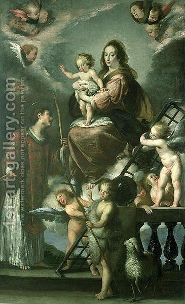 Madonna and Child with the Infant St. John the Baptist and St. Lawrence and Angels, 1629 by Bernardo Strozzi - Reproduction Oil Painting