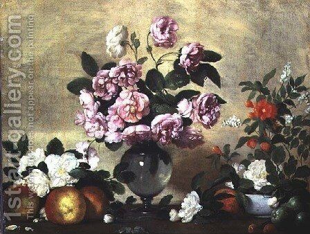 Flowers and Fruit by Bernardo Strozzi - Reproduction Oil Painting
