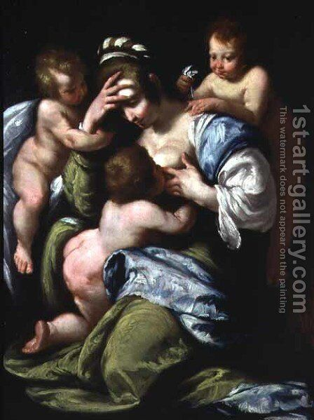 Charity by Bernardo Strozzi - Reproduction Oil Painting