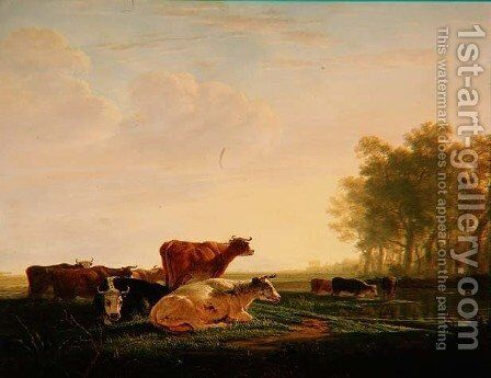 Cattle in a Landscape by Jacob Van Stry - Reproduction Oil Painting
