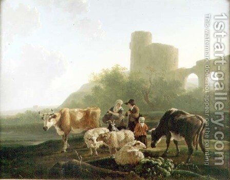 Rustic Figures with Cattle and Sheep by Jacob Van Stry - Reproduction Oil Painting