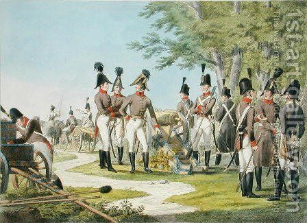 The New Artillery and Equipment of the Imperial Royal Austrian Army after the Napoleonic Wars, c.1820 by (after) Stubenrauch, Phillip von - Reproduction Oil Painting