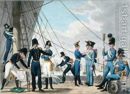 The new Imperial Royal Austrian Navy after the Napoleonic Wars, c.1820 by (after) Stubenrauch, Phillip von - Reproduction Oil Painting