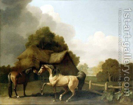 A Roan Stallion and a Bay Mare, 1769 by George Stubbs - Reproduction Oil Painting