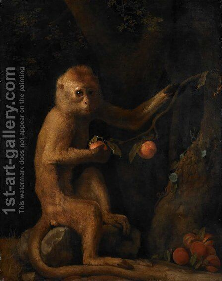 Portrait of a Monkey dated 1774 by George Stubbs - Reproduction Oil Painting