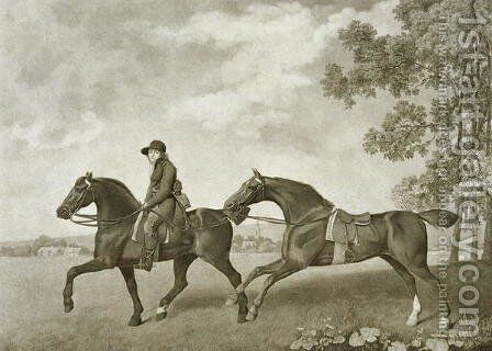Two Hacks, engraved by George Townley Stubbs bap.1748-c.1815 by (after) Stubbs, George - Reproduction Oil Painting