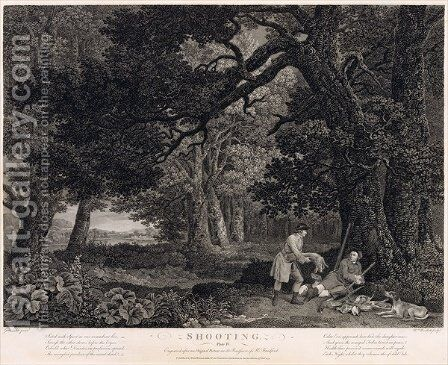 Shooting, plate 4, engraved by William Woollett 1735-85 1771 by (after) Stubbs, George - Reproduction Oil Painting