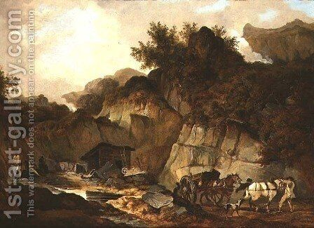 The Slate Quarry by (circle of) Stubbs, George - Reproduction Oil Painting