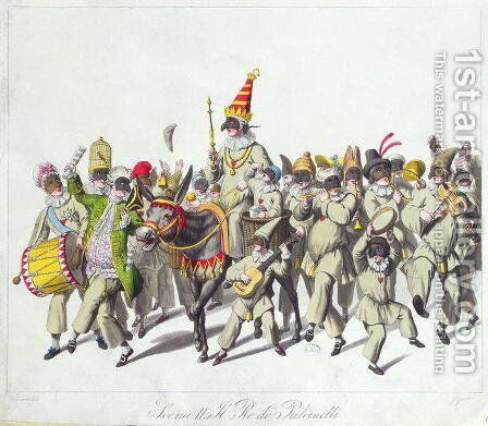 Procession of King Punch during the Roman Carnival, early 19th century by (after) Stuermer, Johann Heinrich - Reproduction Oil Painting