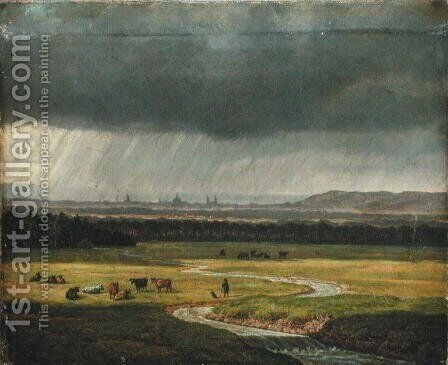 Landscape with Dresden in the Distance, 1830 by Heinrich Stuhlmann - Reproduction Oil Painting