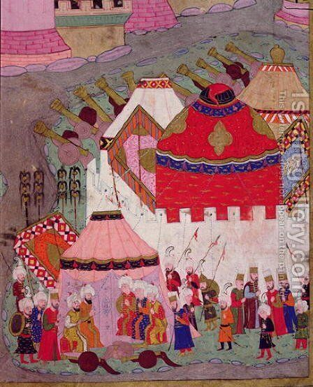 TSM H.1524 Siege of Vienna by Suleyman I 1494-1566 the Magnificent, in 1529, from the Hunername by Lokman, detail of the Ottoman camp, 1588 by I the Magnificent Suleyman - Reproduction Oil Painting
