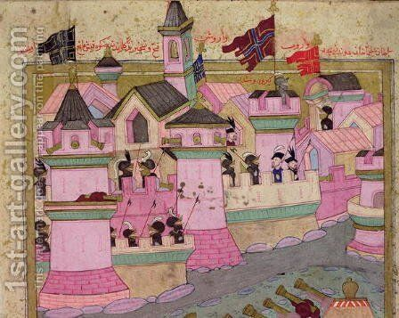 TSM H.1524 Siege of Vienna by Suleyman I 1494-1566 the Magnificent, in 1529, from the Hunername by Lokman, detail of Vienna, 1588 by I the Magnificent Suleyman - Reproduction Oil Painting