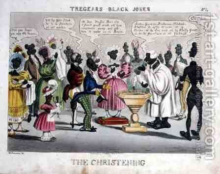 The Christening, from Tregears Black Jokes, aquatinted by Hunt, published by T.S. Tregear, London, 1834 by (after) Summers, W. - Reproduction Oil Painting