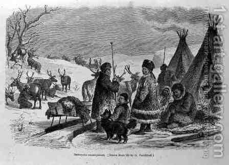 Samoyede Encampment, from The History of Mankind by Prof. Friedrich Rayzel, pub. in 1904 by (after) Sundblad, Gustav - Reproduction Oil Painting