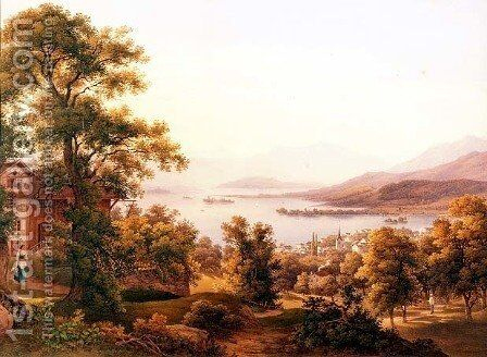 A View of Horgen on the Lake of Zurich by Jakob Suter - Reproduction Oil Painting