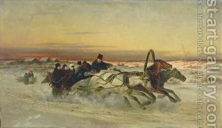 A Galloping Winter Troika at Dawn by Nikolai Egorovich Sverchkov - Reproduction Oil Painting