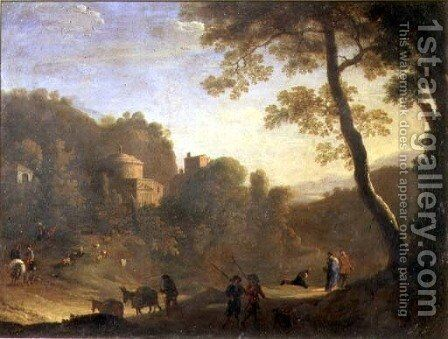 Landscape with figures by Herman Van Swanevelt - Reproduction Oil Painting