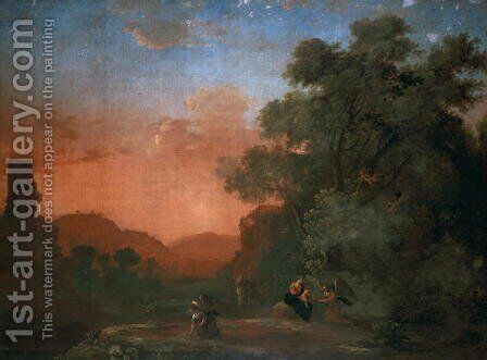 Landscape with the Flight into Egypt by Herman Van Swanevelt - Reproduction Oil Painting