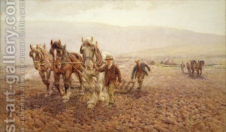 Harrowing near Wilmington, 1917 by Harold Swanwick - Reproduction Oil Painting