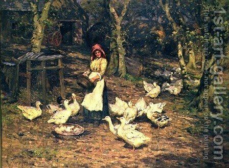 Feeding the Ducks by Harold Swanwick - Reproduction Oil Painting
