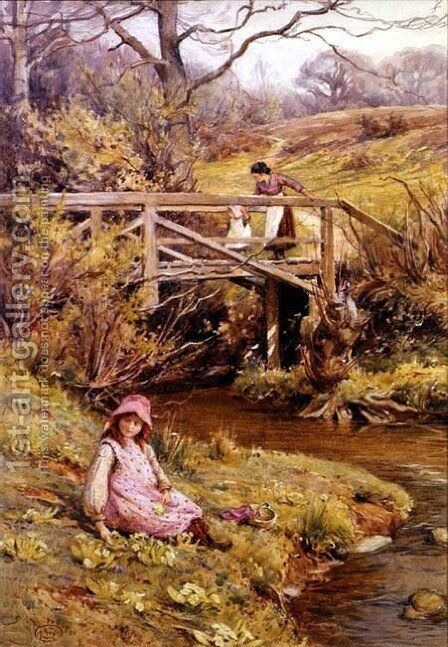 Picking Primroses, 1906 by Harold Swanwick - Reproduction Oil Painting