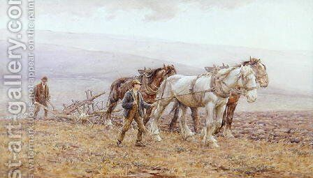 Ploughing the Downs by Harold Swanwick - Reproduction Oil Painting