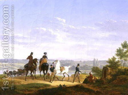 Landscape with Figures and Horses by Bernard Edouard Swebach - Reproduction Oil Painting