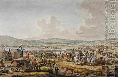 Napoleon Visiting the Siege Works at Danzig led by Marshal Le Febvre, 9 May 1807, engraved by Francois Jacques Dequevauviller 1783-1848 by (after) Swebach, Jacques Francois Joseph - Reproduction Oil Painting