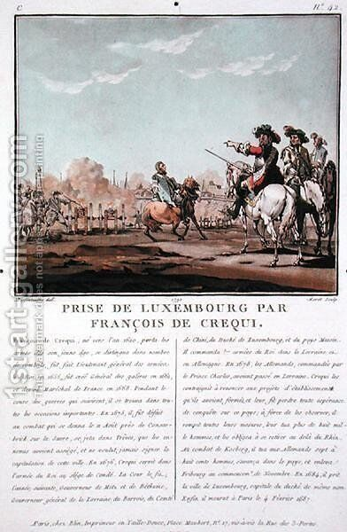 The Taking of Luxembourg by Francois de Crequi c.1620-78, 1684, engraved by Jean Baptiste Morret fl.1790-1820, 1790 by (after) Swebach, Jacques Francois Joseph - Reproduction Oil Painting