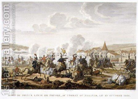 The Death of Prince Ludwig of Prussia at the Battle of Saalfed, 10 October 1806, engraved by Louis Francois Couche 1782-1849 by (after) Swebach, Jacques Francois Joseph - Reproduction Oil Painting